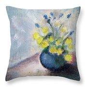 Yello Flowers In Blue Vaze Throw Pillow