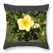 Yello Hibiscus Throw Pillow