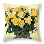 Yello Roses Throw Pillow
