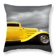 Yellow 32 Ford Deuce Coupe Throw Pillow