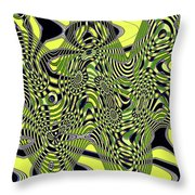 Yellow And Black #3 Abstract Throw Pillow