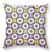 Yellow And Blue Circle Tile Throw Pillow