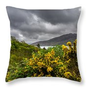 Yellow Flowers And Grey Clouds, Stormy Weather Over Sea In Scotland. Throw Pillow