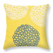 Yellow And Gray Garden Bloom Throw Pillow