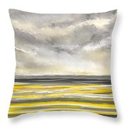 Yellow And Gray Seascape Art Throw Pillow