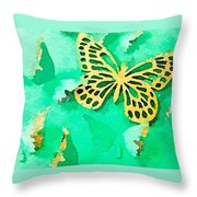 Yellow And Green Butterfly Throw Pillow