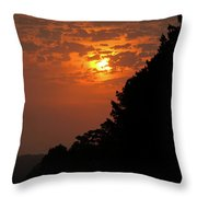 Yellow And Orange Sunset With Tree Silhouette On Bottom And Right Throw Pillow