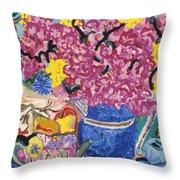 Fleur De Vessel Throw Pillow