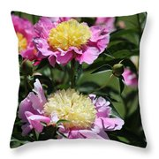 Yellow And Pink Peony Throw Pillow