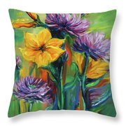 Yellow And Purple Flowers Throw Pillow