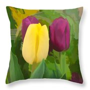 Yellow And Purple Tuilps Throw Pillow