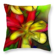 Yellow And Red Columbines Throw Pillow