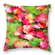 Yellow And Red Fall Maple Leaves Throw Pillow
