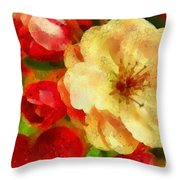 Yellow And Red Floral Delight Throw Pillow