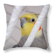 Yellow And Red On White Throw Pillow