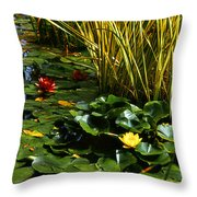 Yellow And Red Water Lilies In A Pond Throw Pillow