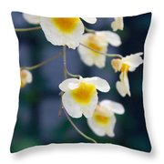 Yellow And White Cascading Flowers Throw Pillow