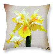 Yellow And White Iris Textured Throw Pillow