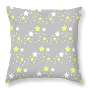 Yellow And White Stars On Grey Gray  Throw Pillow