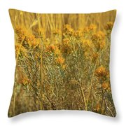 Yellow Autumn Blooming Throw Pillow