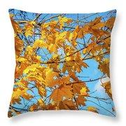 Yellow Autumn Leaves 2 Throw Pillow