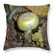 Yellow Autumn Mushroom Throw Pillow