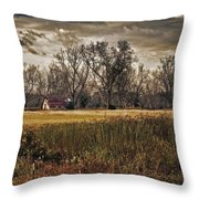 Yellow Barn And The Field Throw Pillow