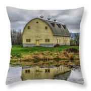 Yellow Barn Throw Pillow