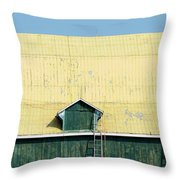 Yellow Barn Roof Workers-3 Throw Pillow