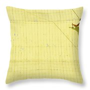 Yellow Barn Roof Workers-4 Throw Pillow