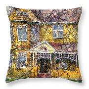 Yellow Batik House Throw Pillow