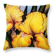 Yellow Beards Throw Pillow