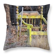 Yellow Bench Throw Pillow