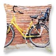 Yellow Bicycle Digital Watercolour Throw Pillow