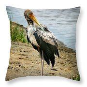 Yellow Bill Stork Throw Pillow