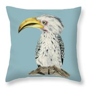 Yellow-billed Hornbill Watercolor Painting Throw Pillow