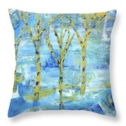Yellow Birches Throw Pillow