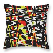 Yellow Black Red White Drawing Abstract Throw Pillow