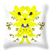 Yellow Blue Blossoms Throw Pillow