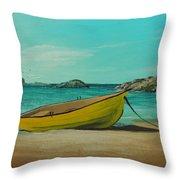 Yellow Boat Throw Pillow