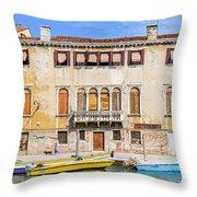 Yellow Boat - Venice Italy Throw Pillow