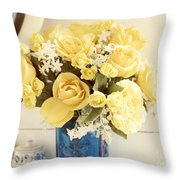 Yellow Bouquet Of Flowers Throw Pillow