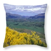 Yellow Broom Over Pasture In Dalefield Throw Pillow