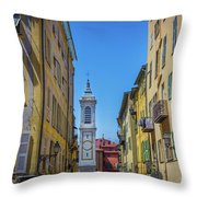 Yellow Buildings And Chapel In Old Town Nice, France - Landscape Throw Pillow
