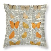 Yellow Butterflies Over Dictionary Book Page Throw Pillow by Anna W