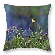 Yellow Butterfly Flyaway Throw Pillow