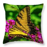 Yellow Butterfly In The Garden Throw Pillow