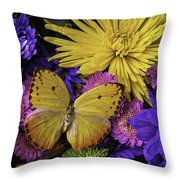 Yellow Butterfly On Bouquet Throw Pillow