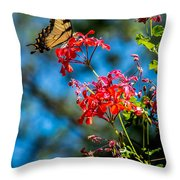 Yellow Butterfly On Red Flowers Throw Pillow