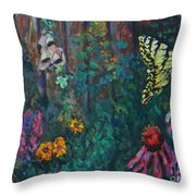 Yellow Butterfly Perched Throw Pillow